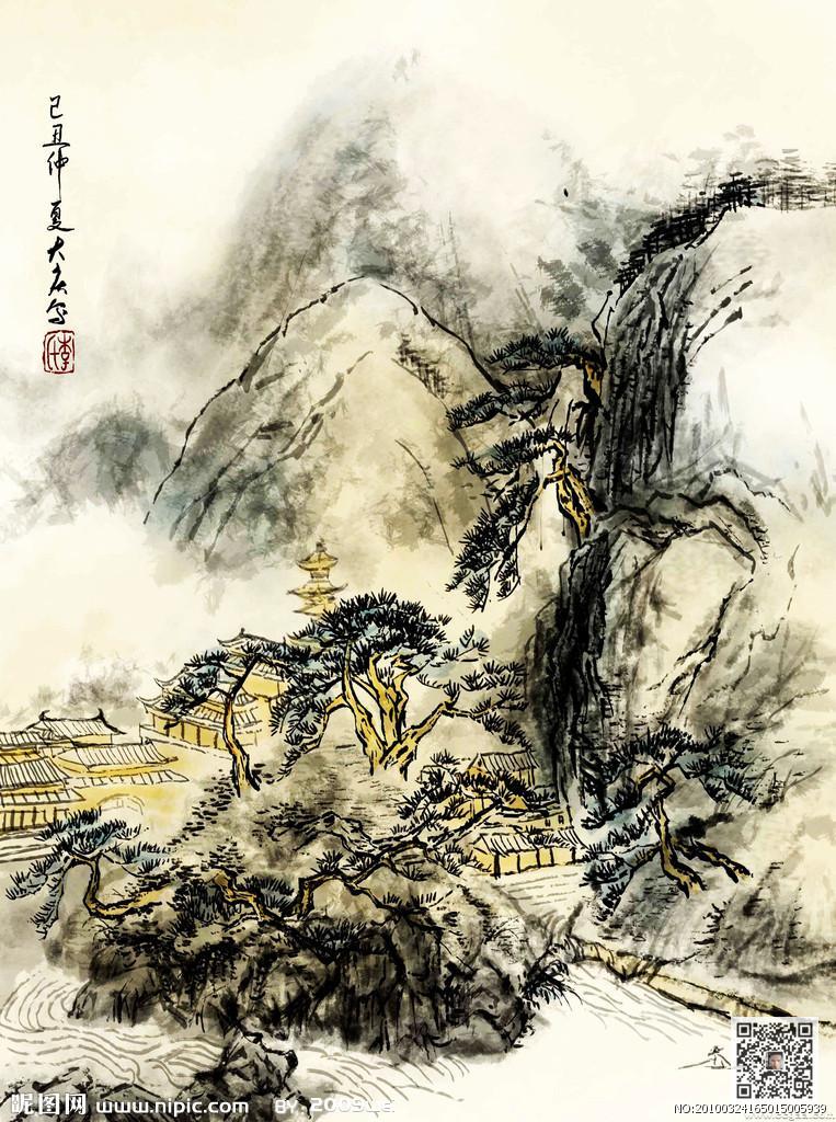 手绘国画壁画素材 山水画图片